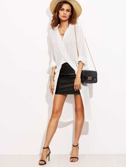 White V Neck Rolled Up Sleeve Asymmetrical Long Blouse