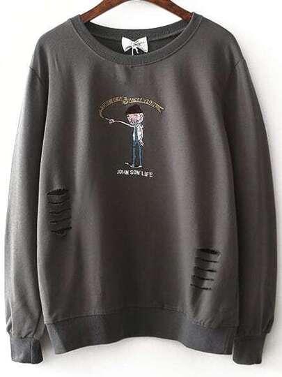 Grey Embroidery Ripped Sweatshirt