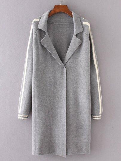 Grey Striped Raglan Sleeve Sweater Coat