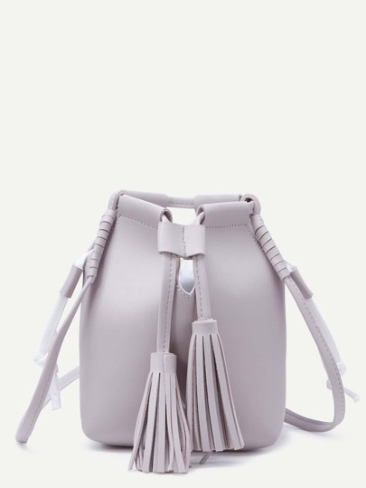 Grey Tassel Drawstring PU Bucket Bag