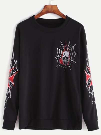 Black Cobweb Skull Embroidered Sweatshirt