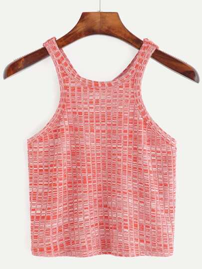 Red Round Neck Racer Back Tank Top