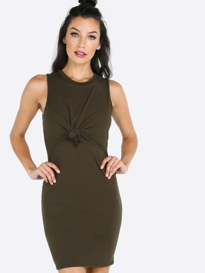 Sleeveless Knotted Mini Dress OLIVE