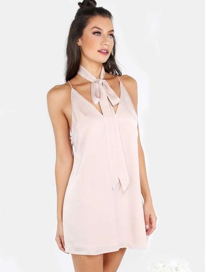 Cami Satin Neck Tie Slip Dress BLUSH