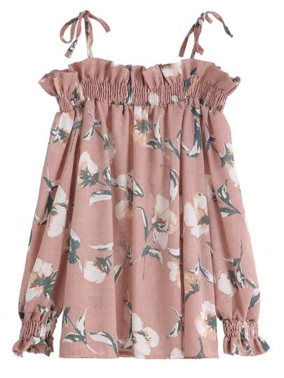 Pink Floral Print Cold Shoulder Ruffle Shirred Top