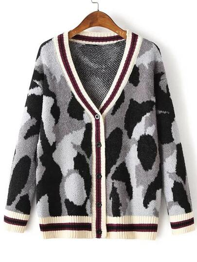 Grey Leopard Print Striped Trim Buttons Front Sweater Coat