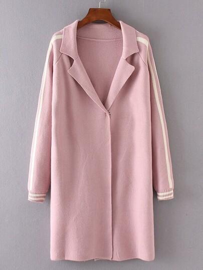Pink Striped Raglan Sleeve Sweater Coat