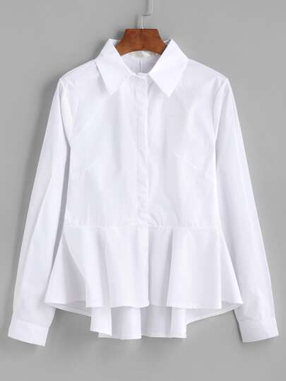 White Ruffle Peplum High Low Blouse