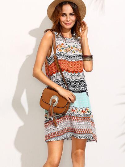 Multicolor Print Tie Back Sleeveless Shift Dress