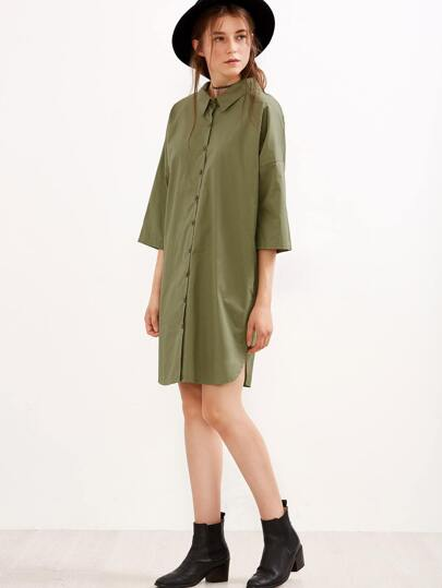 Army Green Drop Shoulder Tie Back Shirt Dress