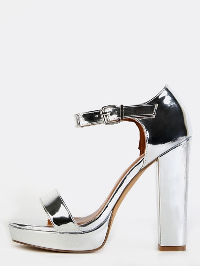 Reflective Chunky Heels SILVER