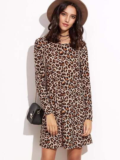 Leopard Print Shift Tee Dress
