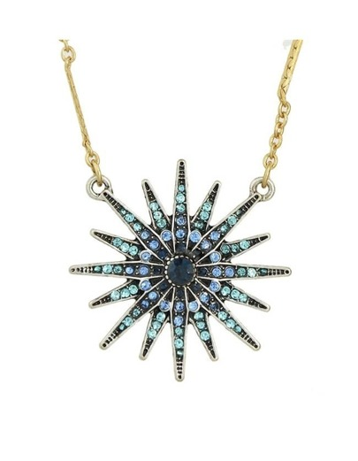 Blue Snowflake Shape Pendant Necklace