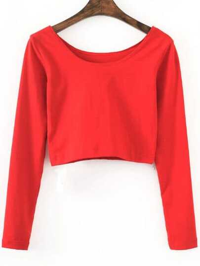 Red Long Sleeve Crop T-Shirt