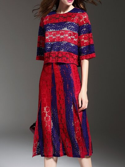 Red Navy Color Block Lace Top With Split Skirt