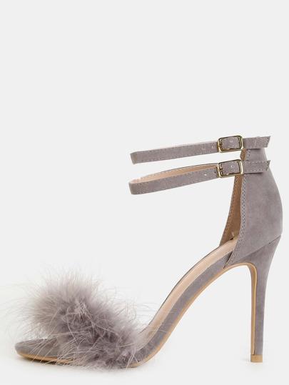 Zapatos de tacón con tira en tobillo - gris