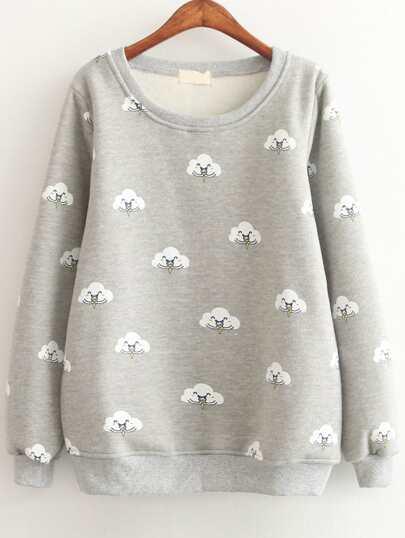 Grey Cloud Print Long Sleeve Sweatshirts