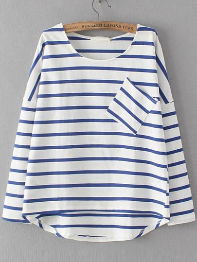 T-shirt trapèze à rayures avec poches - bleu