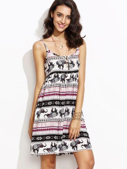 Elephant Print A-Line Slip Dress