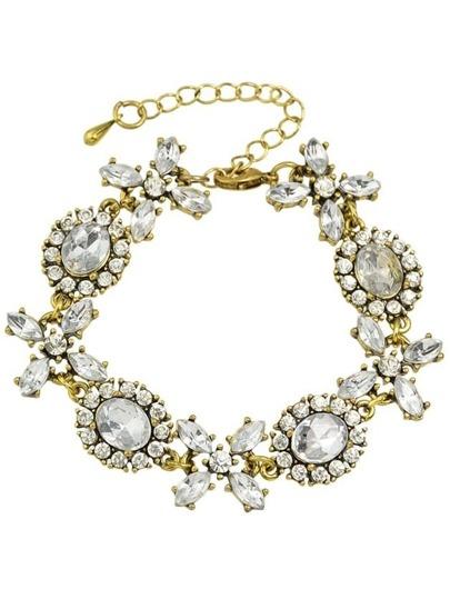 Adjustable Rhinestone Flower Charms Bracelet