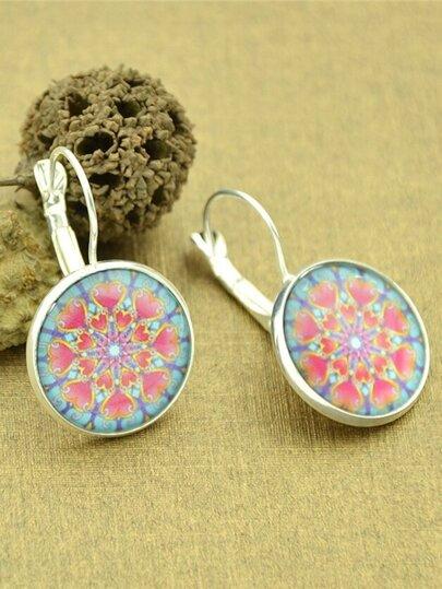 Silver Vintage Design Heart Patterns Round Hoop Earrings