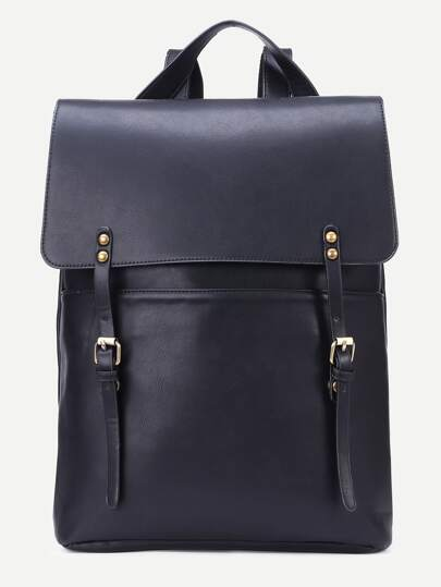 Black Double Buckle Strap Flap Backpack