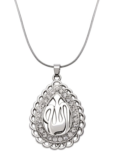Silver Rhinestone Hollow Out Pendant Necklace