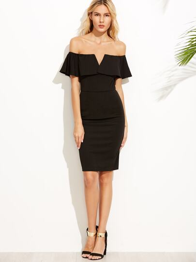 Black V Notch Off The Shoulder Pencil Dress