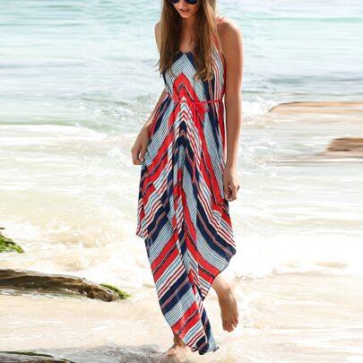 Multicolor Stripe Dual Strapes Backless Maxi Dress
