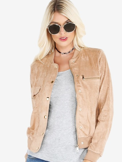 Suede Pocket Fly Bomber Jacket COCOA