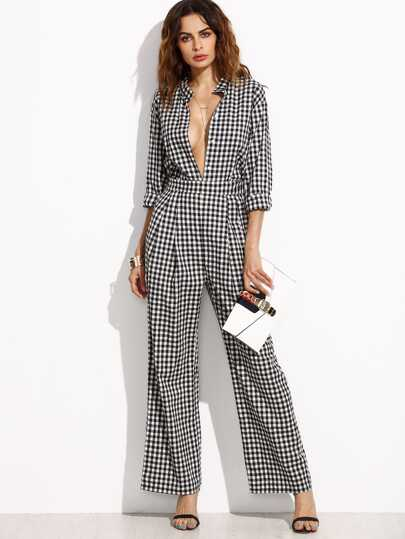 Black Gingham Band Collar Deep V Neck Jumpsuit