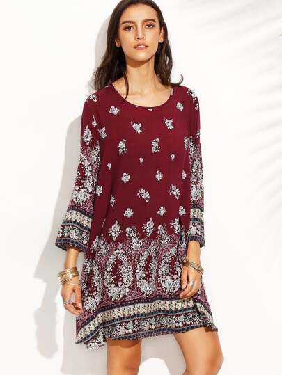 Burgundy Vintage Print Long Sleeve Shift Dress