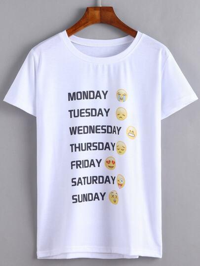 White Emoji Print T-shirt