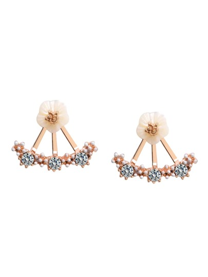 Rose Gold Plated Fan Shaped Rhinestone Flower Stud Earrings