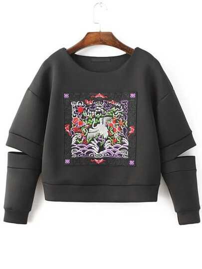 Black Embroidered Drop Shoulder Cut Out Sweatshirt