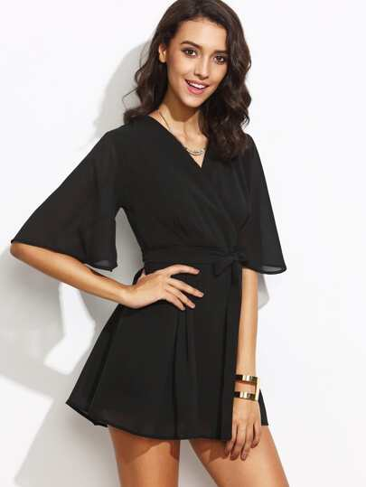 Black V Neck Bow Tie Zipper Back Wrap Dress