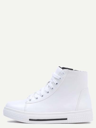 Zapatillas de deporte hi-top con cordón cremallera - blanco