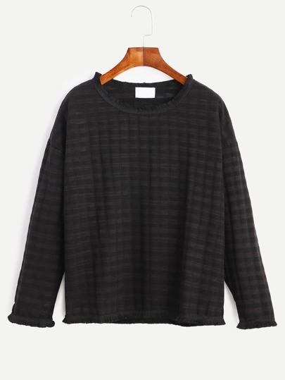 Drop Shoulder Fringe Trim Textured Sweatshirt