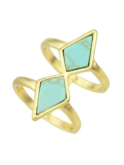 Blue Imitation Turquoise Big Size Fingers Ring For Ladies