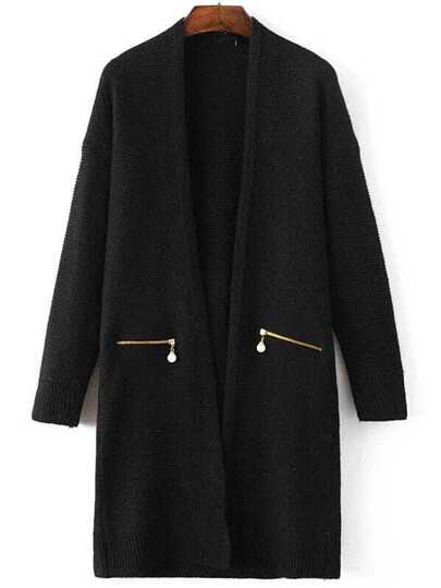 Black Ribbed Trim Zipper Pocket Long Sweater Coat