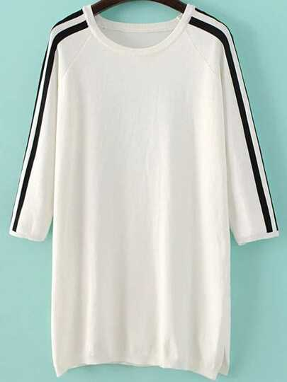 White Striped Raglan Sleeve Side Slit Sweater Dress