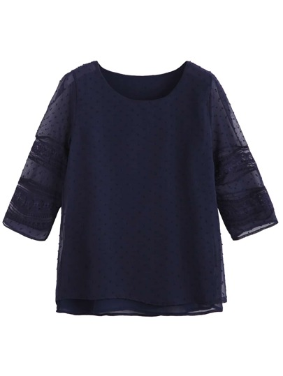 Navy Embroidered Mesh Hollow Out Overlay Blouse