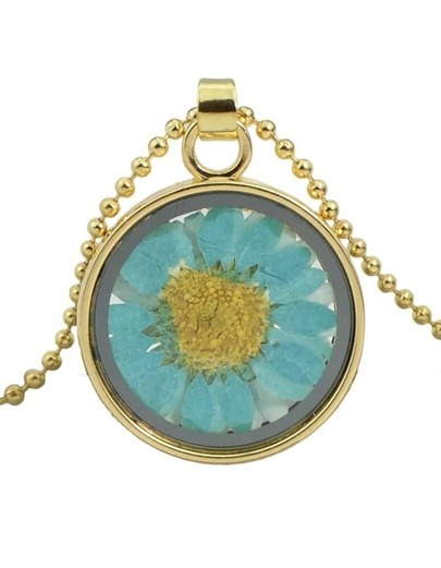 Small Round Flower Pendant Necklace
