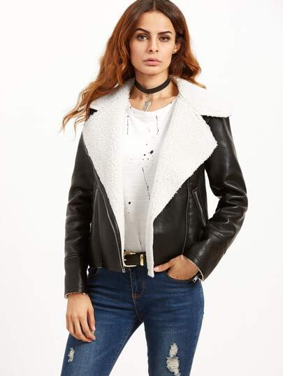 Black Faux Shearling Collar PU Aviator Jacket
