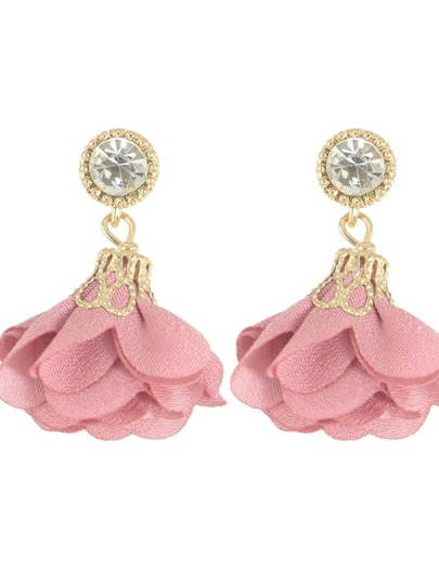 Pink Women Jewelry Flower Drop Earrings