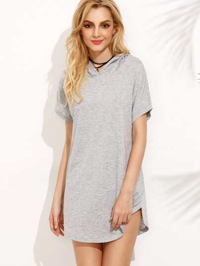 Grey Curved Hem Hooded Dress