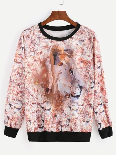 Contrast Trim Birdcage Print Sweatshirt