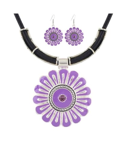Purple Flower Shape Jewelry Set