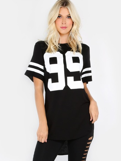 Jersey Print T-Shirt Top BLACK