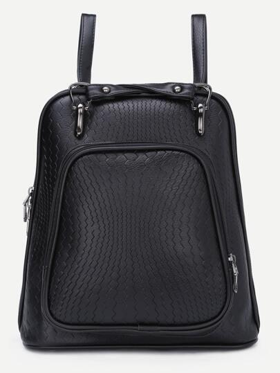 Black Embossed PU Backpack